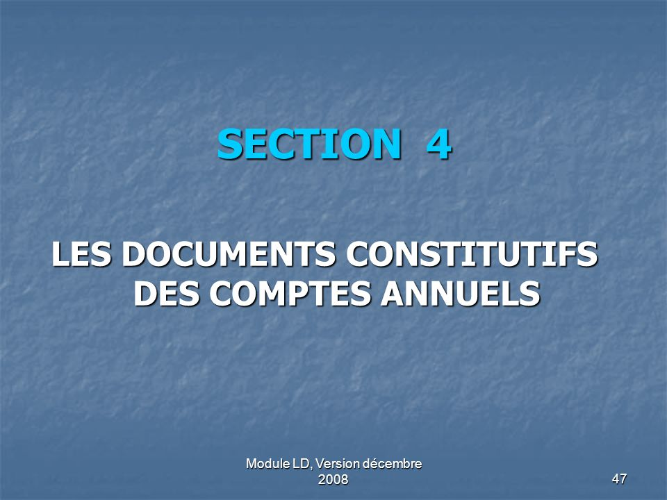 Module LD, Version décembre 200847 SECTION 4 LES DOCUMENTS CONSTITUTIFS DES COMPTES ANNUELS