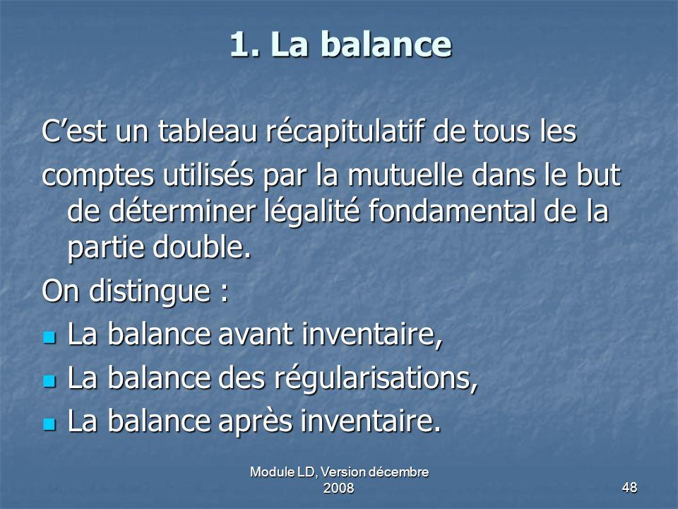 Module LD, Version décembre 200848 1. La balance Cest un tableau récapitulatif de tous les comptes utilisés par la mutuelle dans le but de déterminer