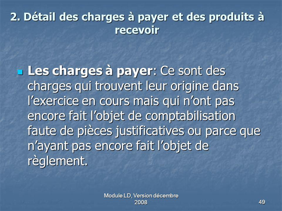 Module LD, Version décembre 200849 2. Détail des charges à payer et des produits à recevoir Les charges à payer: Ce sont des charges qui trouvent leur
