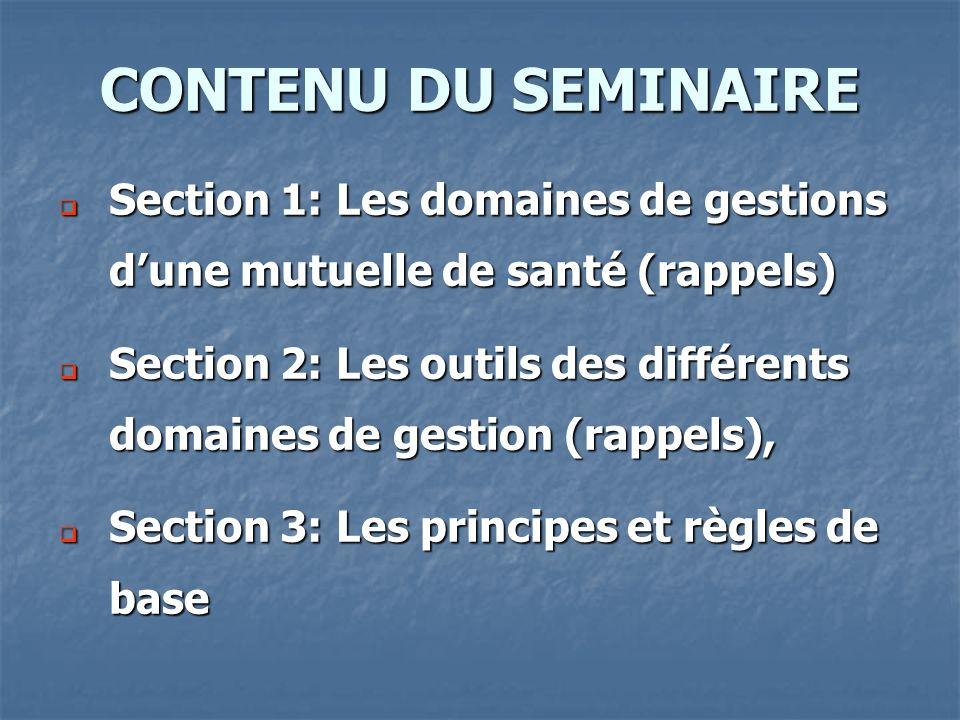 Section 1: Les domaines de gestions dune mutuelle de santé (rappels) Section 1: Les domaines de gestions dune mutuelle de santé (rappels) Section 2: L