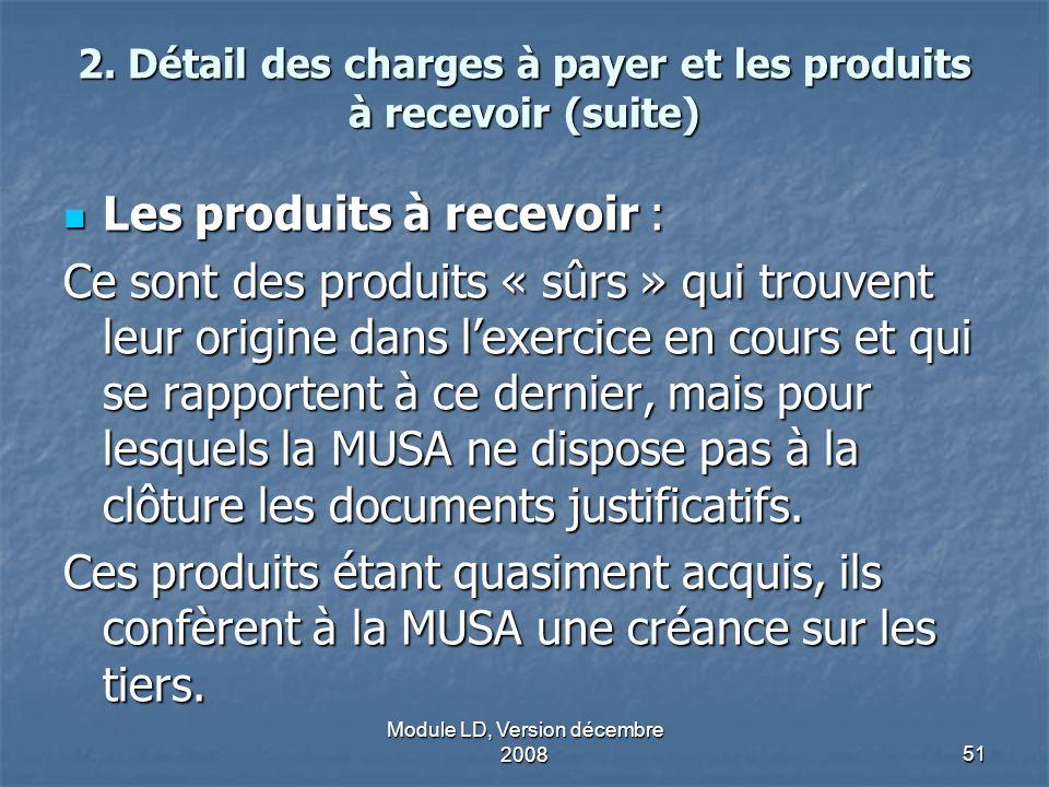 Module LD, Version décembre 200851 2. Détail des charges à payer et les produits à recevoir (suite) Les produits à recevoir : Les produits à recevoir
