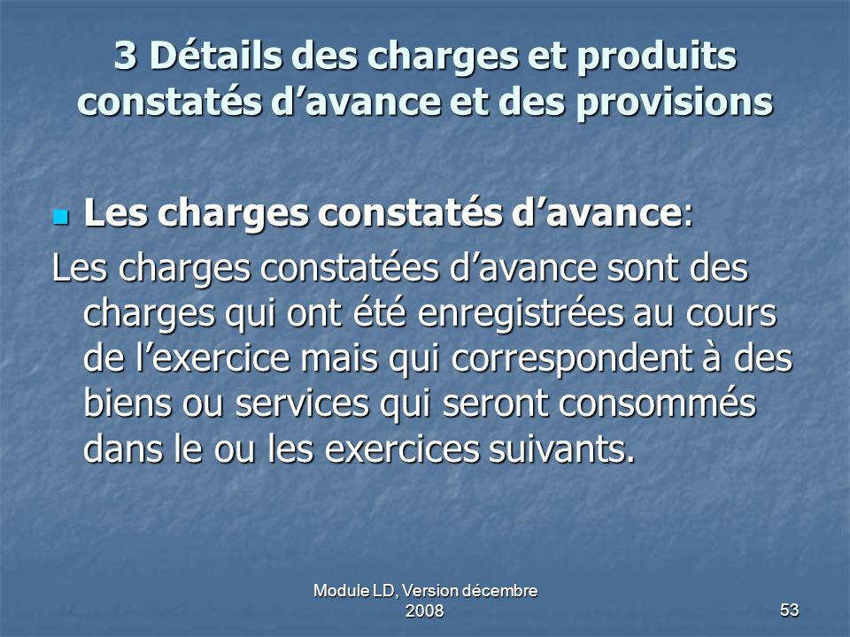 Module LD, Version décembre 200853 3 Détails des charges et produits constatés davance et des provisions Les charges constatés davance: Les charges co