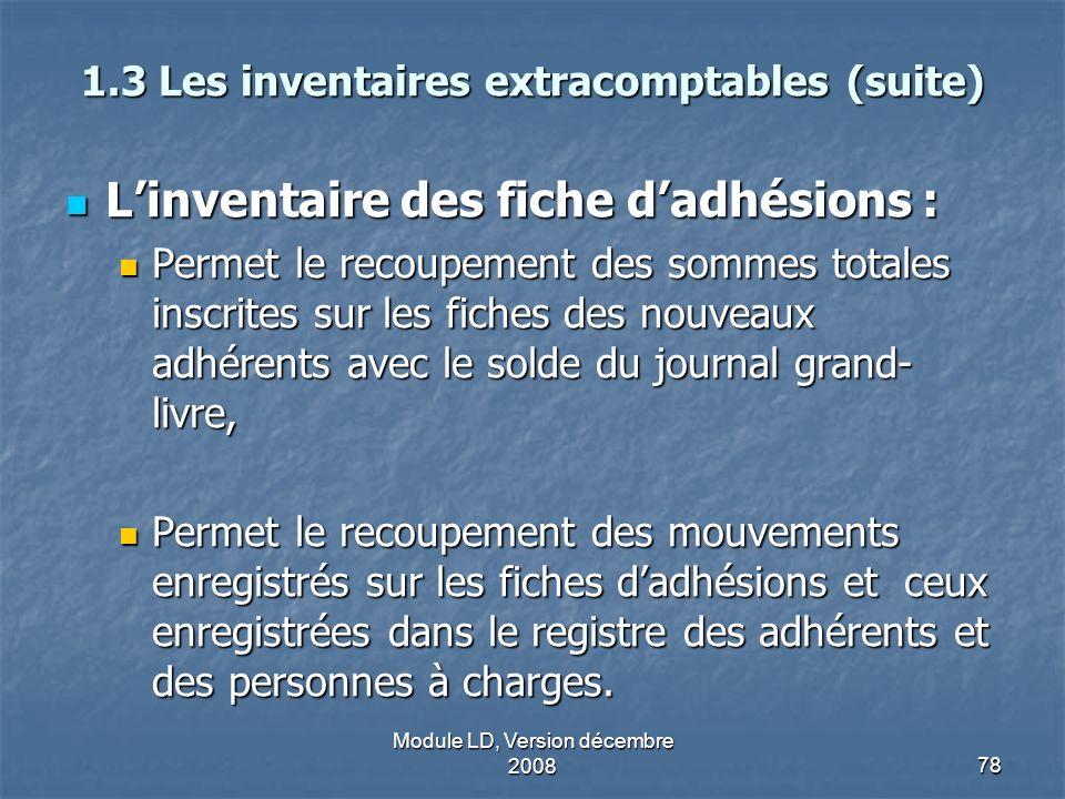 Module LD, Version décembre 200878 1.3 Les inventaires extracomptables (suite) Linventaire des fiche dadhésions : Linventaire des fiche dadhésions : P
