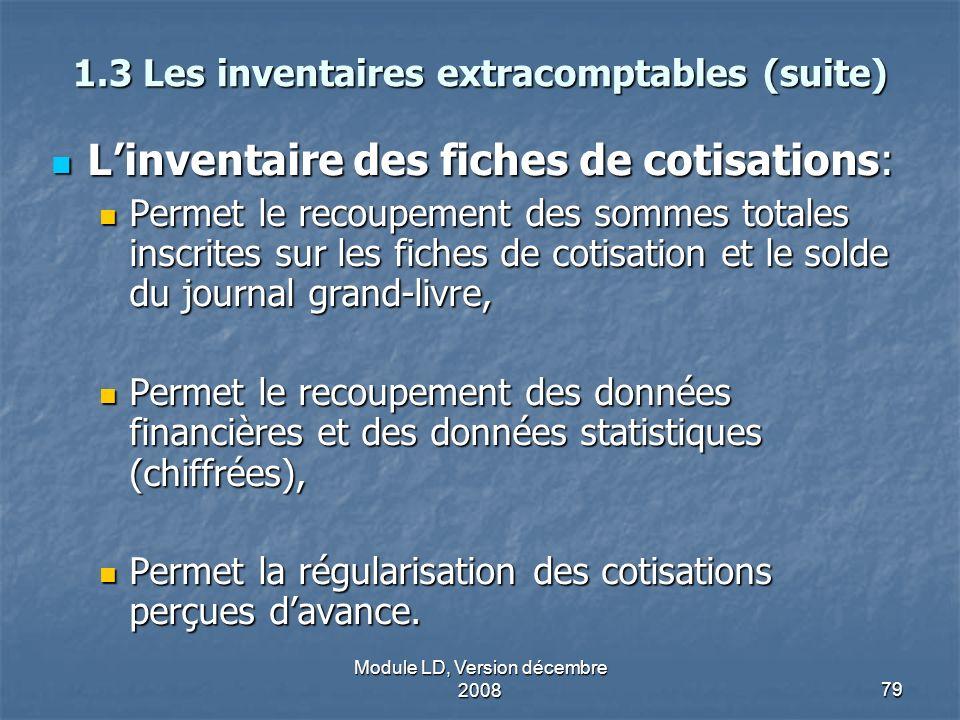 Module LD, Version décembre 200879 1.3 Les inventaires extracomptables (suite) Linventaire des fiches de cotisations: Linventaire des fiches de cotisa