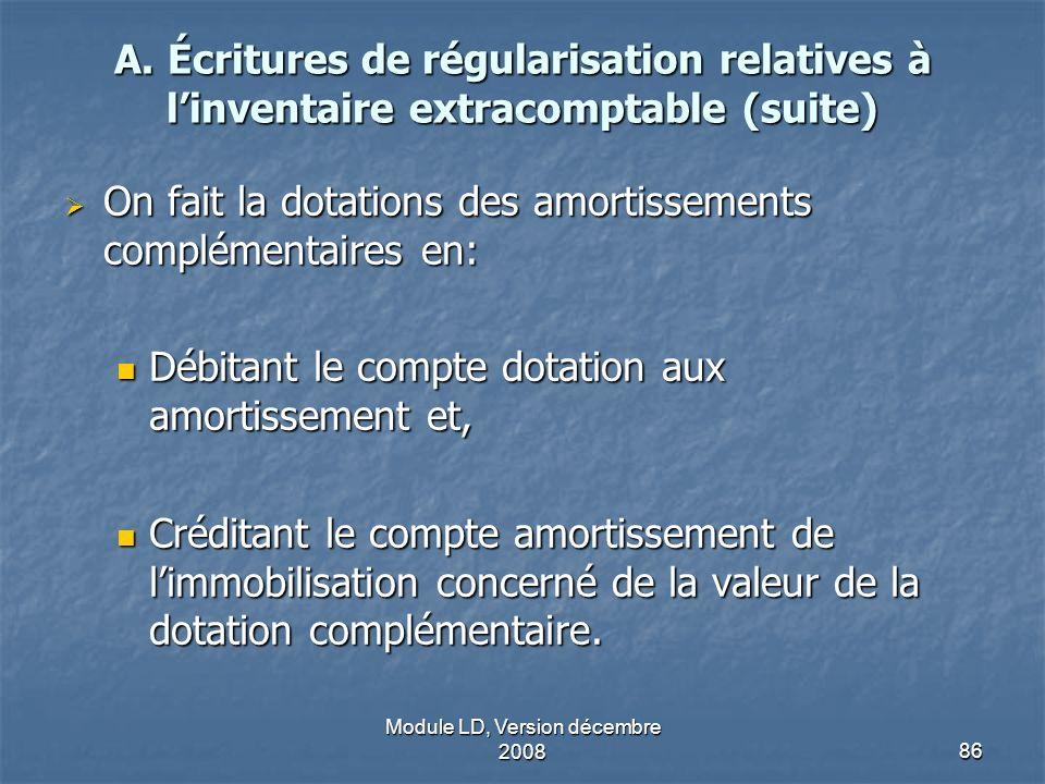 Module LD, Version décembre 200886 A. Écritures de régularisation relatives à linventaire extracomptable (suite) On fait la dotations des amortissemen