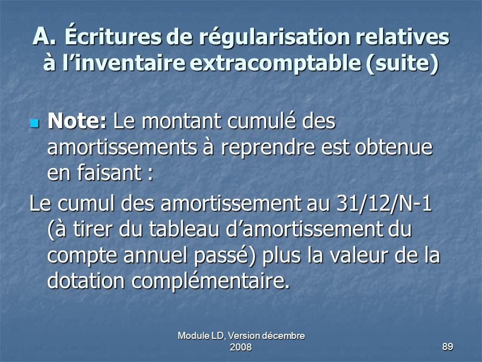 Module LD, Version décembre 200889 A. Écritures de régularisation relatives à linventaire extracomptable (suite) Note: Le montant cumulé des amortisse