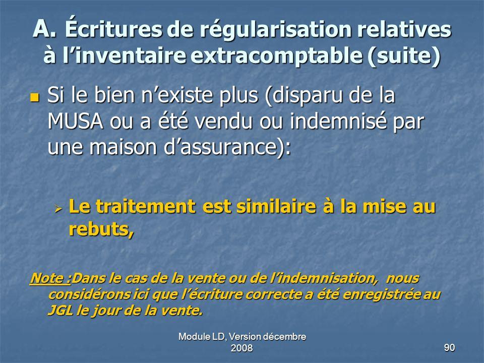 Module LD, Version décembre 200890 A. Écritures de régularisation relatives à linventaire extracomptable (suite) Si le bien nexiste plus (disparu de l