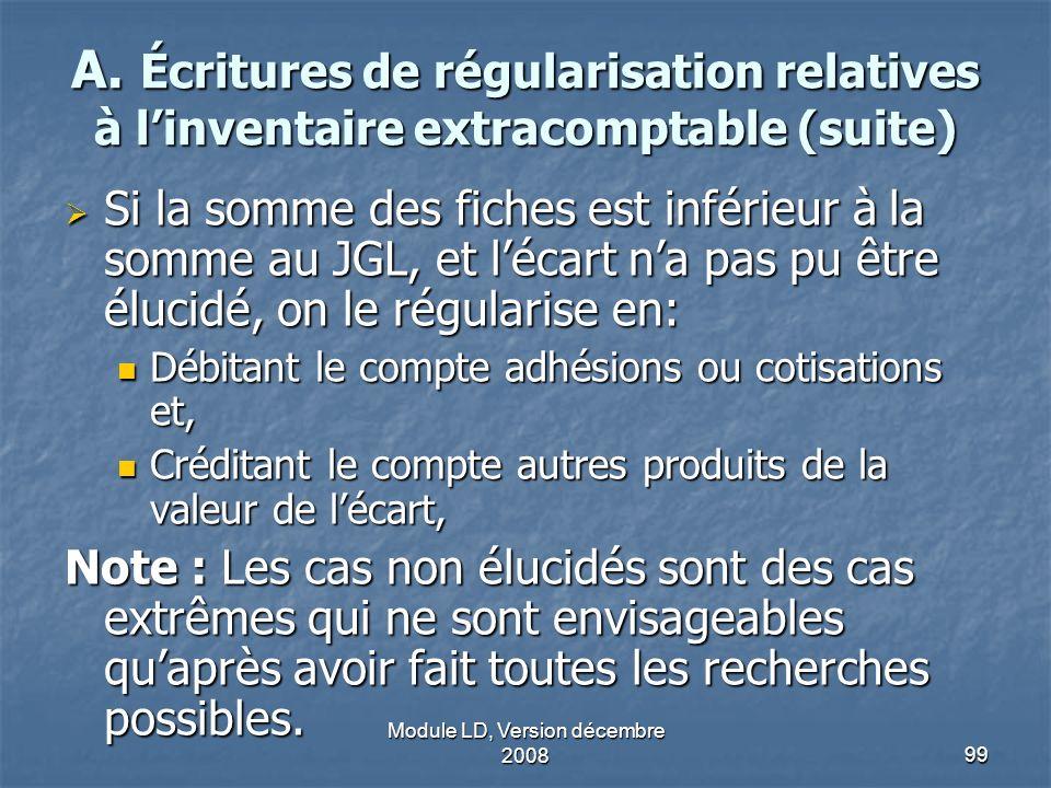 Module LD, Version décembre 200899 A. Écritures de régularisation relatives à linventaire extracomptable (suite) Si la somme des fiches est inférieur