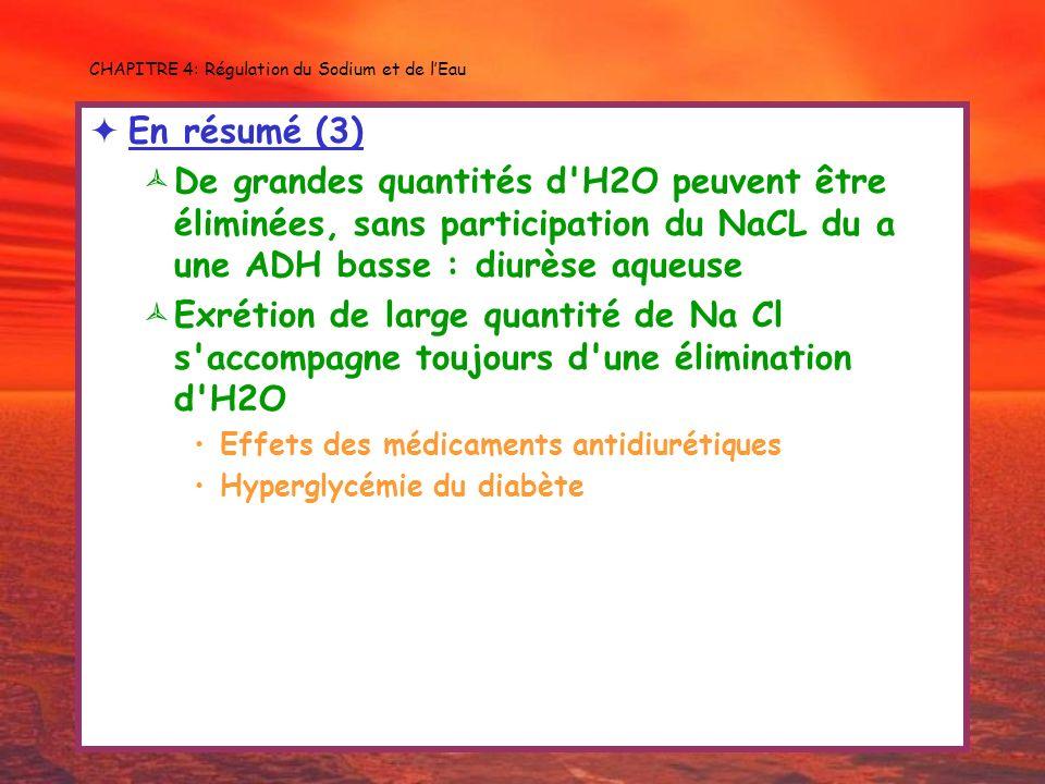 CHAPITRE 4: Régulation du Sodium et de lEau En résumé (3) De grandes quantités d'H2O peuvent être éliminées, sans participation du NaCL du a une ADH b