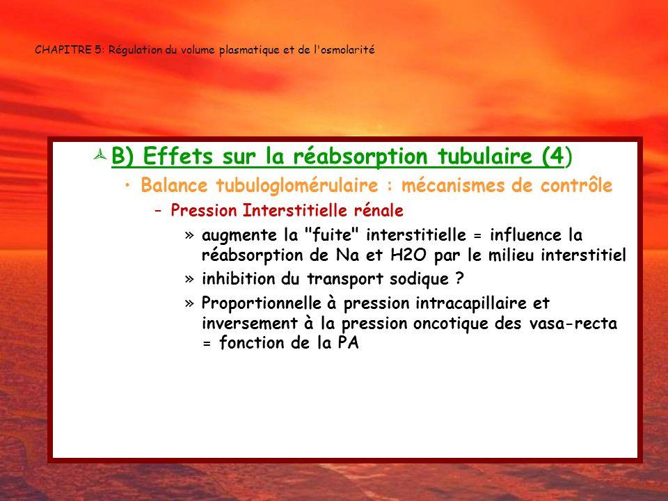 CHAPITRE 5: Régulation du volume plasmatique et de l'osmolarité B) Effets sur la réabsorption tubulaire (4) Balance tubuloglomérulaire : mécanismes de