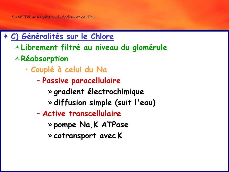 CHAPITRE 4: Régulation du Sodium et de lEau C) Généralités sur le Chlore Librement filtré au niveau du glomérule Réabsorption Couplé à celui du Na –Pa