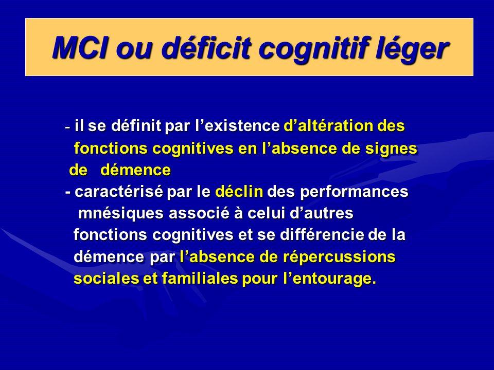 MCI ou déficit cognitif léger MCI ou déficit cognitif léger - il se définit par lexistence daltération des fonctions cognitives en labsence de signes