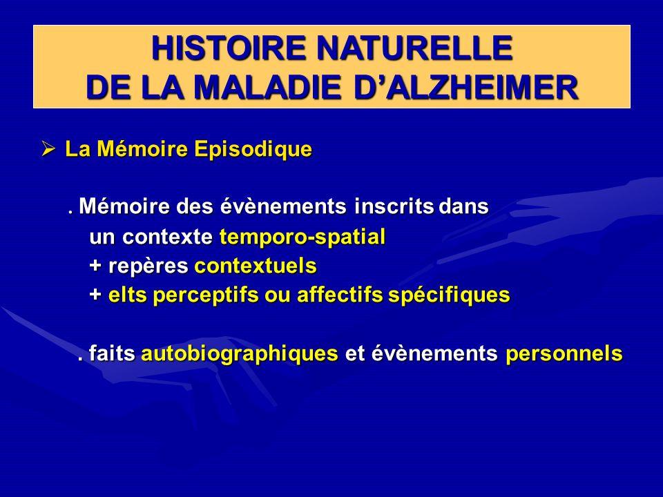 HISTOIRE NATURELLE DE LA MALADIE DALZHEIMER La Mémoire Episodique La Mémoire Episodique. Mémoire des évènements inscrits dans. Mémoire des évènements