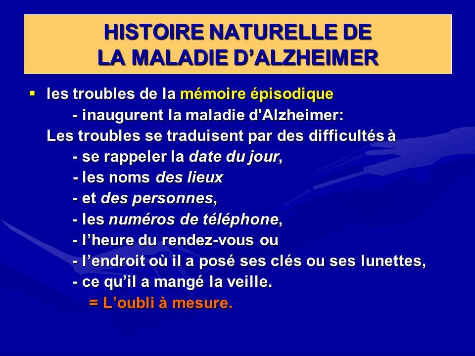HISTOIRE NATURELLE DE LA MALADIE DALZHEIMER les troubles de la mémoire épisodique les troubles de la mémoire épisodique - inaugurent la maladie d'Alzh