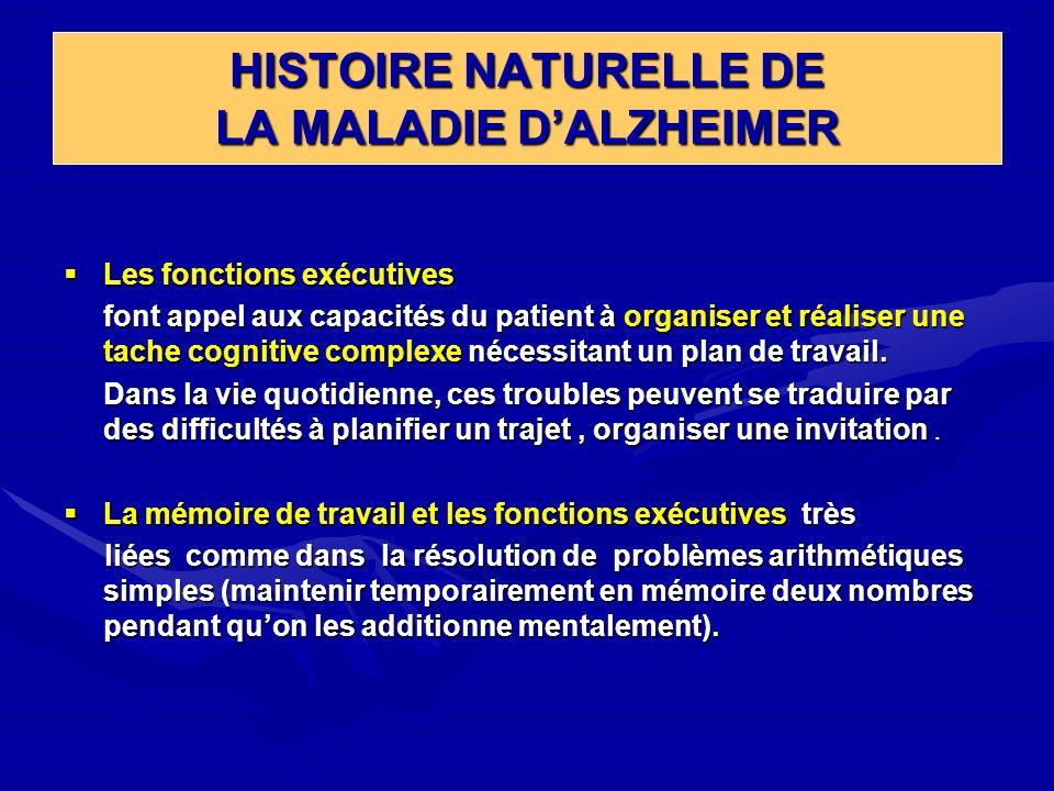 HISTOIRE NATURELLE DE LA MALADIE DALZHEIMER Les fonctions exécutives Les fonctions exécutives font appel aux capacités du patient à organiser et réali