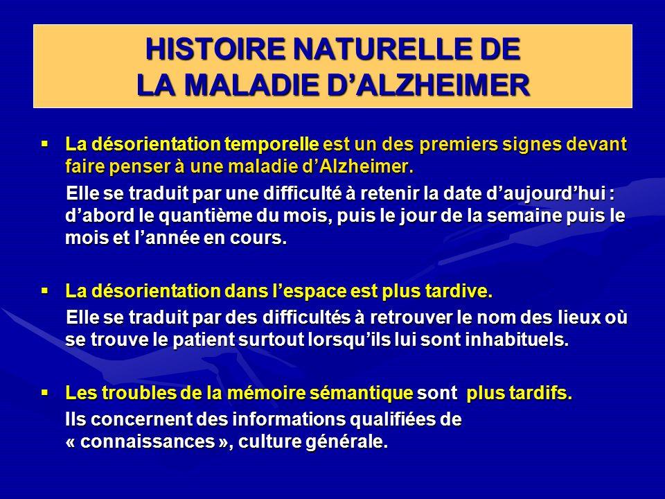 HISTOIRE NATURELLE DE LA MALADIE DALZHEIMER La désorientation temporelle est un des premiers signes devant faire penser à une maladie dAlzheimer. La d