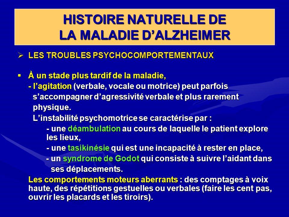 HISTOIRE NATURELLE DE LA MALADIE DALZHEIMER LES TROUBLES PSYCHOCOMPORTEMENTAUX LES TROUBLES PSYCHOCOMPORTEMENTAUX À un stade plus tardif de la maladie