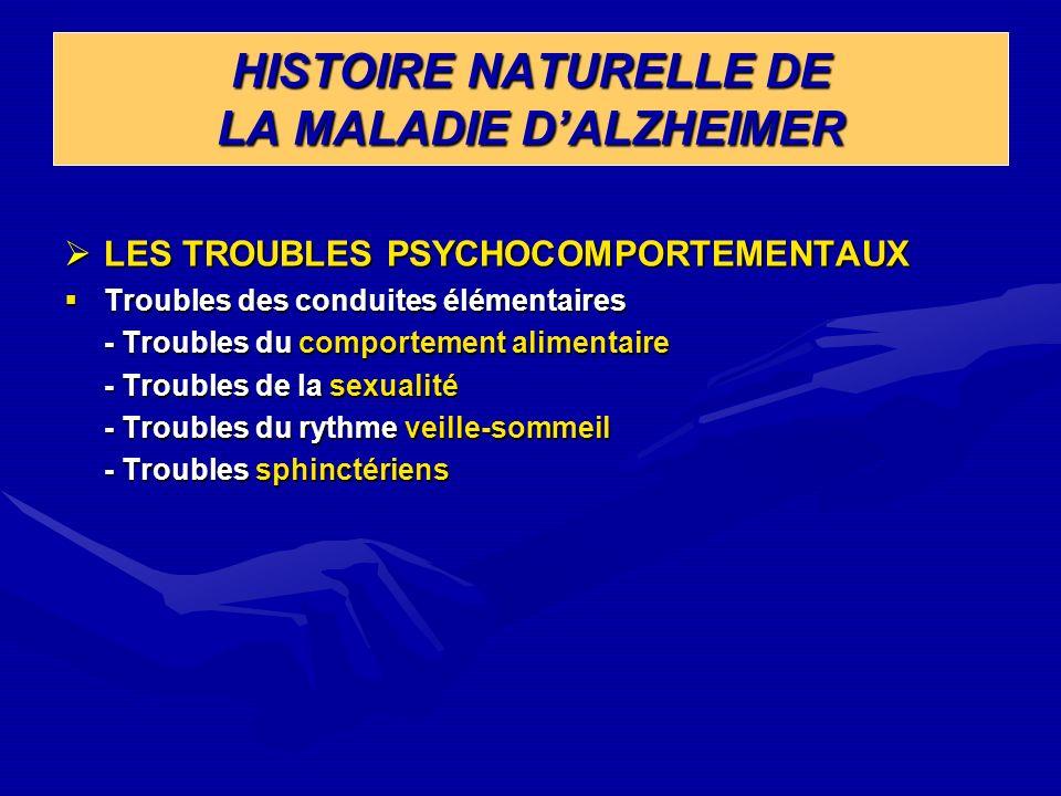 HISTOIRE NATURELLE DE LA MALADIE DALZHEIMER LES TROUBLES PSYCHOCOMPORTEMENTAUX LES TROUBLES PSYCHOCOMPORTEMENTAUX Troubles des conduites élémentaires