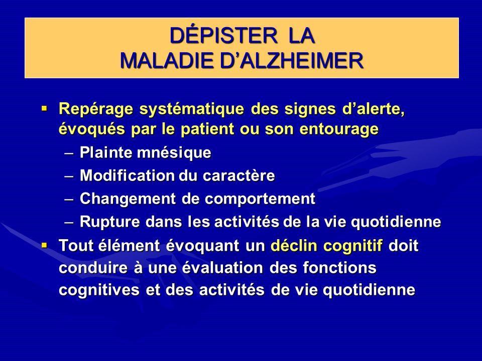 DÉPISTER LA MALADIE DALZHEIMER Repérage systématique des signes dalerte, évoqués par le patient ou son entourage Repérage systématique des signes dale