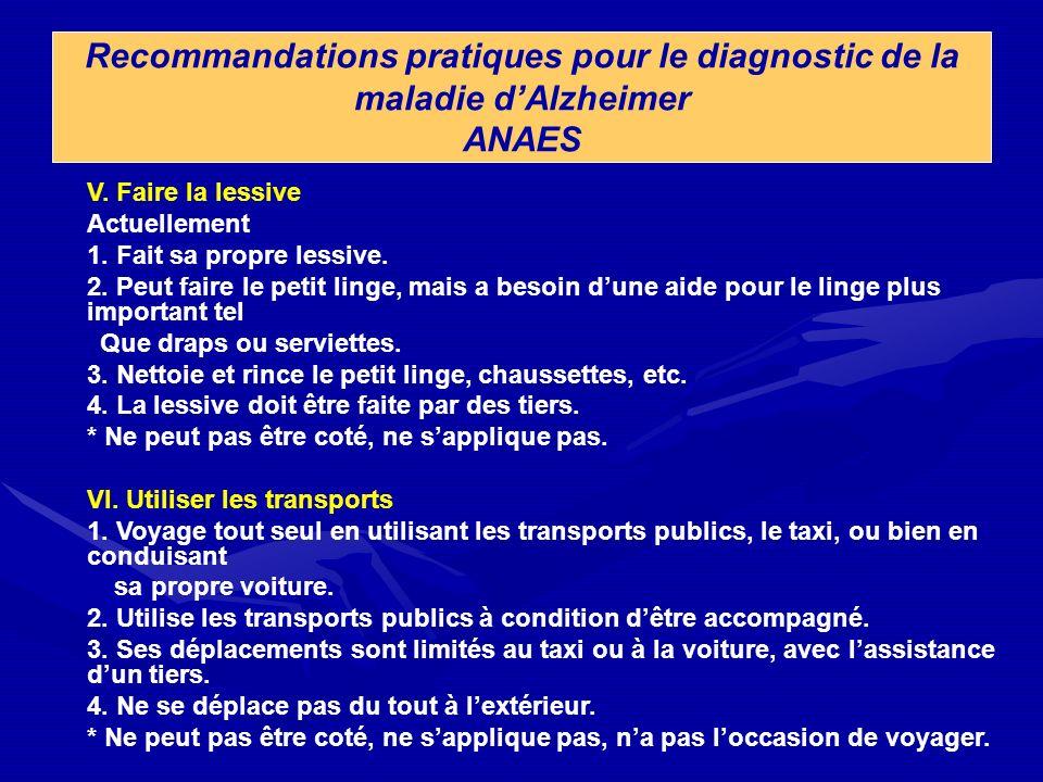 Recommandations pratiques pour le diagnostic de la maladie dAlzheimer ANAES V. Faire la lessive Actuellement 1. Fait sa propre lessive. 2. Peut faire