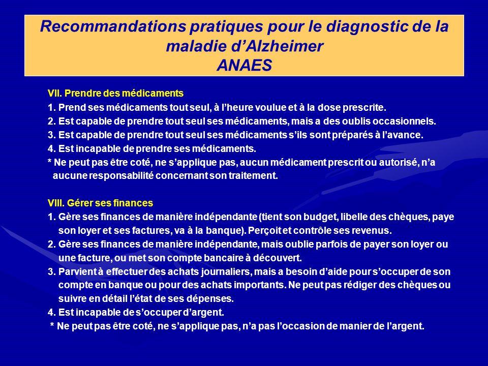Recommandations pratiques pour le diagnostic de la maladie dAlzheimer ANAES VII. Prendre des médicaments 1. Prend ses médicaments tout seul, à lheure