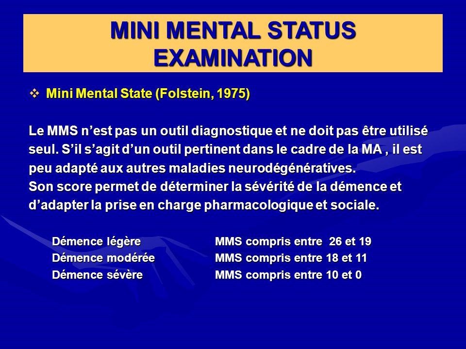 MINI MENTAL STATUS EXAMINATION Mini Mental State (Folstein, 1975) Mini Mental State (Folstein, 1975) Le MMS nest pas un outil diagnostique et ne doit