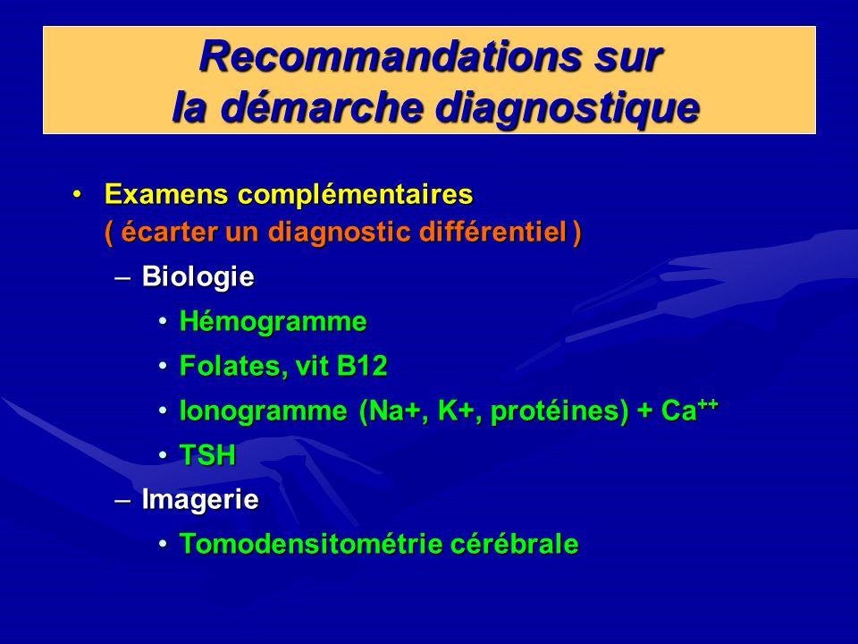 Recommandations sur la démarche diagnostique Examens complémentaires ( écarter un diagnostic différentiel )Examens complémentaires ( écarter un diagno