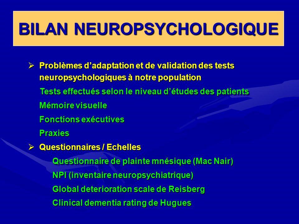 BILAN NEUROPSYCHOLOGIQUE Problèmes dadaptation et de validation des tests neuropsychologiques à notre population Problèmes dadaptation et de validatio