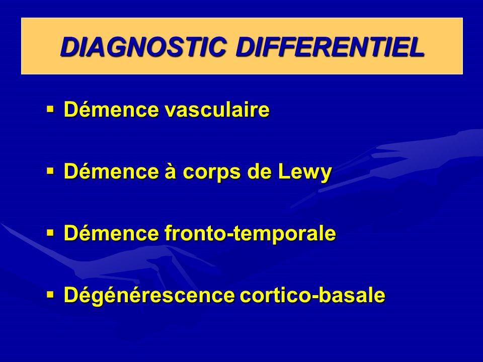 DIAGNOSTIC DIFFERENTIEL Démence vasculaire Démence vasculaire Démence à corps de Lewy Démence à corps de Lewy Démence fronto-temporale Démence fronto-