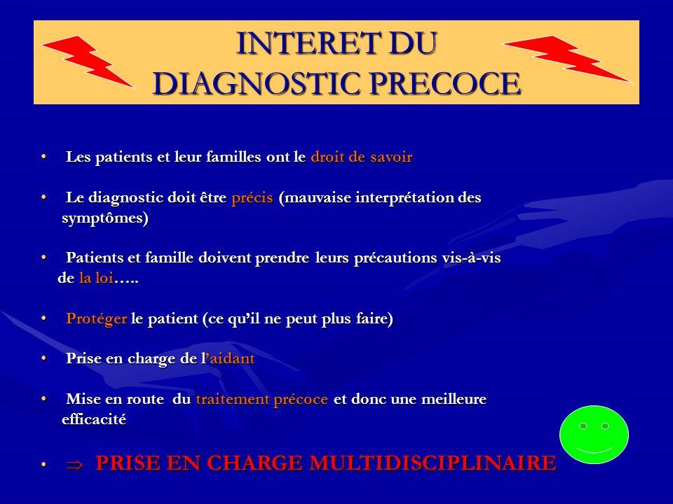 INTERET DU DIAGNOSTIC PRECOCE Les patients et leur familles ont le droit de savoirLes patients et leur familles ont le droit de savoir Le diagnostic d