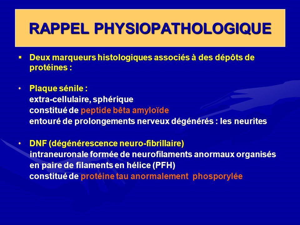 RAPPEL PHYSIOPATHOLOGIQUE Deux marqueurs histologiques associés à des dépôts de protéines : Plaque sénile : extra-cellulaire, sphérique constitué de p