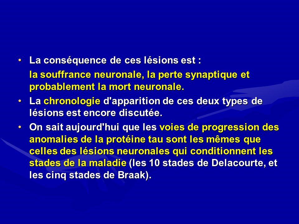 La conséquence de ces lésions est :La conséquence de ces lésions est : la souffrance neuronale, la perte synaptique et probablement la mort neuronale.