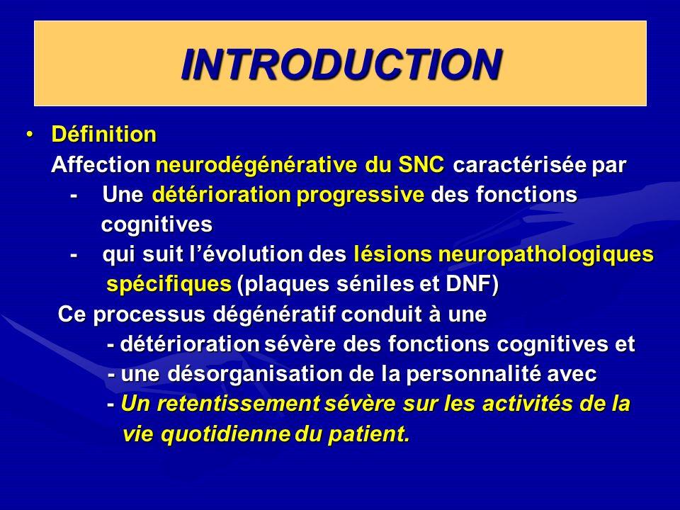 Traitement médicamenteux Traitement médicamenteux - Les inhibiteurs de lacétyl-cholinestérase Donepezil (ARICEPT) Rivastigmine (EXELON) Galantamine ( REMINYL) Galantamine ( REMINYL) - Antagoniste des récepteurs NMDA intervenant dans la neurotransmission glutamatergique dans la neurotransmission glutamatergique Mémantine (EBIXA) Mémantine (EBIXA) - Les antioxydants : Vit E, Vit C, Gincko biloba