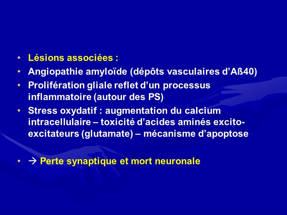Lésions associées : Angiopathie amyloïde (dépôts vasculaires dAß40) Prolifération gliale reflet dun processus inflammatoire (autour des PS) Stress oxy
