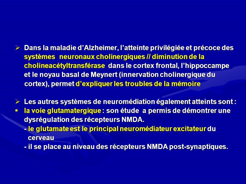 Dans la maladie dAlzheimer, latteinte privilégiée et précoce des Dans la maladie dAlzheimer, latteinte privilégiée et précoce des systèmes neuronaux c