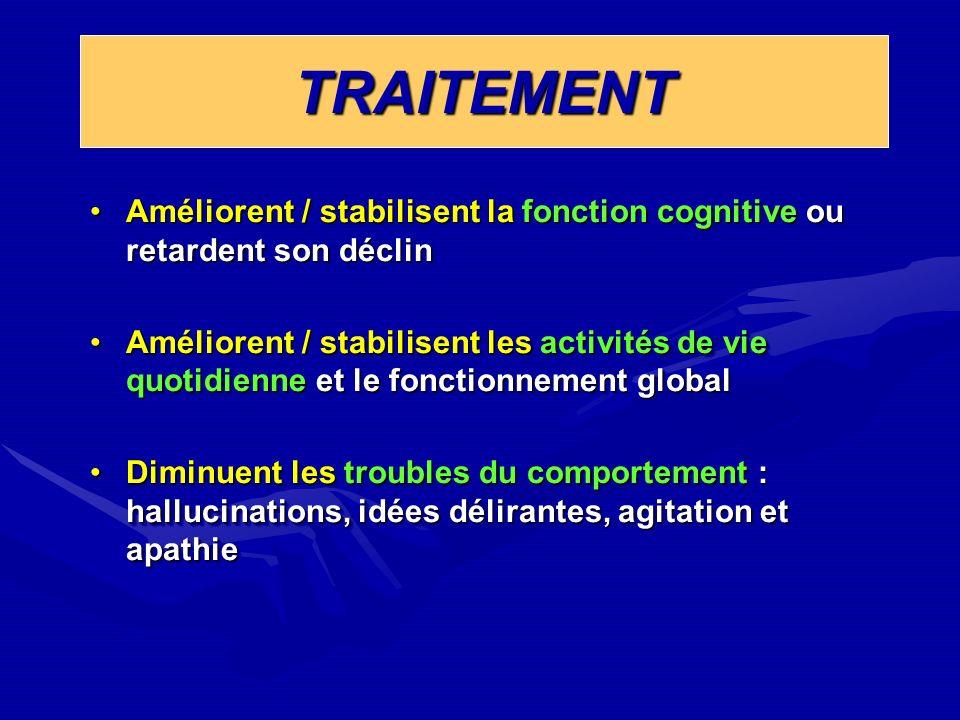 TRAITEMENTTRAITEMENT Améliorent / stabilisent la fonction cognitive ou retardent son déclinAméliorent / stabilisent la fonction cognitive ou retardent
