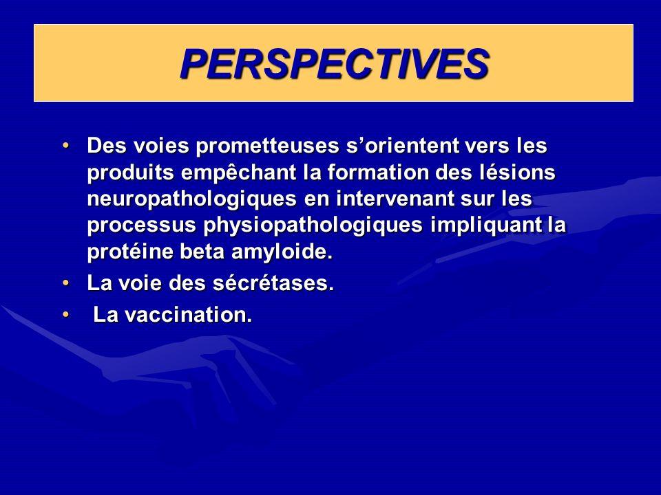 PERSPECTIVESPERSPECTIVES Des voies prometteuses sorientent vers les produits empêchant la formation des lésions neuropathologiques en intervenant sur