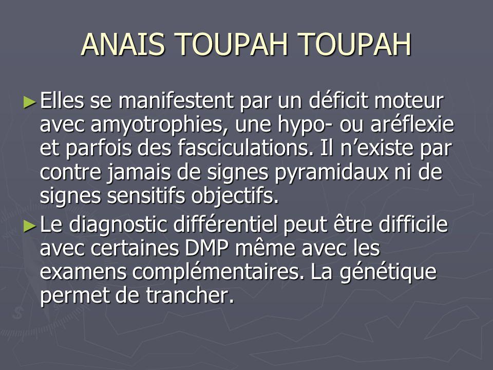 ANAIS TOUPAH TOUPAH Elles se manifestent par un déficit moteur avec amyotrophies, une hypo- ou aréflexie et parfois des fasciculations.