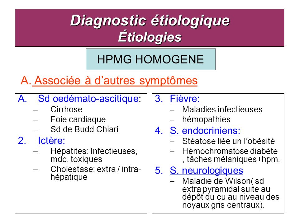 HPMG HOMOGENE Diagnostic étiologique Étiologies A.Sd oedémato-ascitique: –Cirrhose –Foie cardiaque –Sd de Budd Chiari 2.Ictère: –Hépatites: Infectieus
