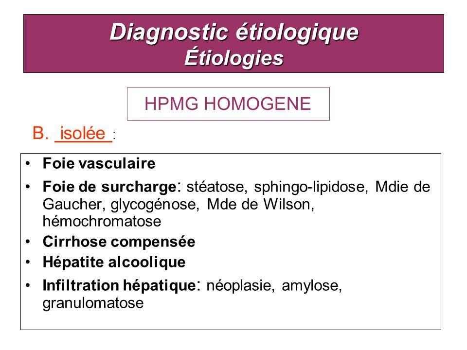 Diagnostic étiologique Étiologies Foie vasculaire Foie de surcharge : stéatose, sphingo-lipidose, Mdie de Gaucher, glycogénose, Mde de Wilson, hémochr