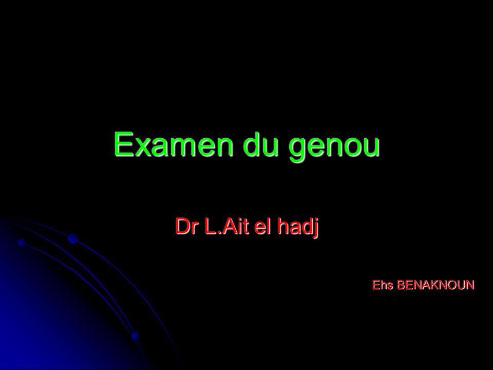 Laxité anterieure b) Les ressauts b) Les ressauts -Le ressaut en extension ou test de Dejour (1978) -1) Le pied du patient est calé entre le tronc et le coude de -lexaminateur.