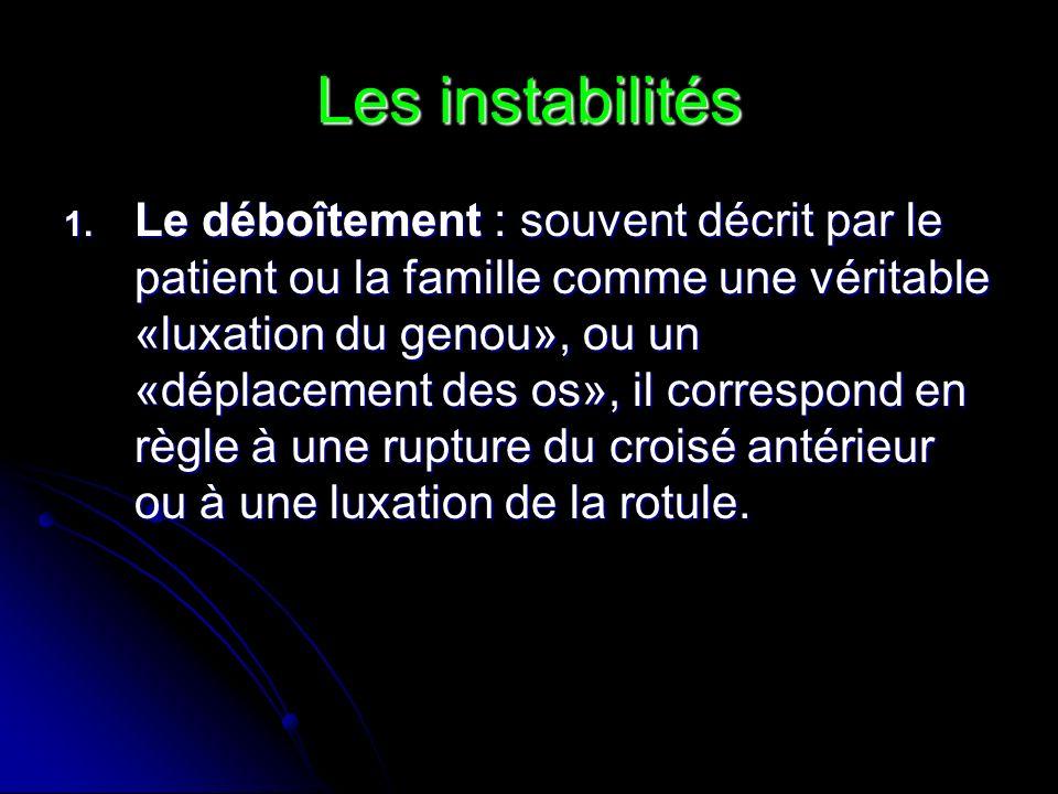 Les instabilités 1. Le déboîtement : souvent décrit par le patient ou la famille comme une véritable «luxation du genou», ou un «déplacement des os»,