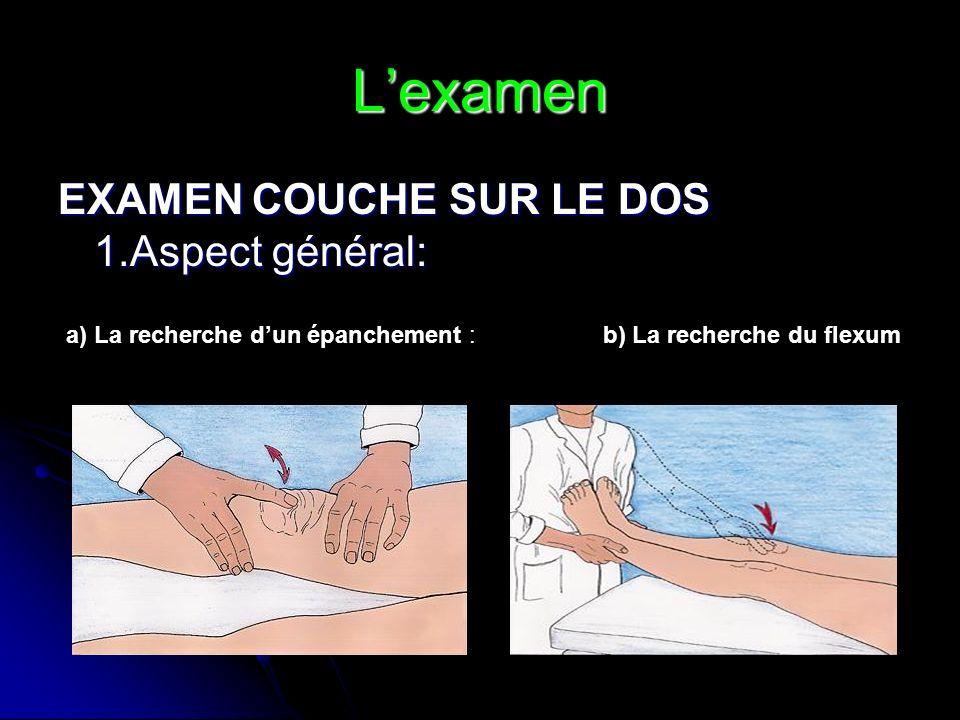 Lexamen EXAMEN COUCHE SUR LE DOS 1.Aspect général: a) La recherche dun épanchement : b) La recherche du flexum