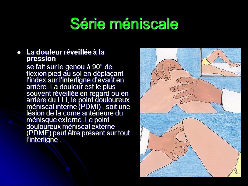 Série méniscale La douleur réveillée à la pression La douleur réveillée à la pression se fait sur le genou à 90° de flexion pied au sol en déplaçant l