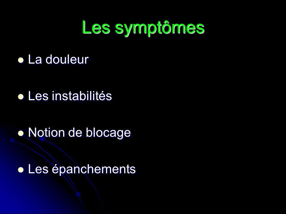 Les symptômes La douleur La douleur Les instabilités Les instabilités Notion de blocage Notion de blocage Les épanchements Les épanchements