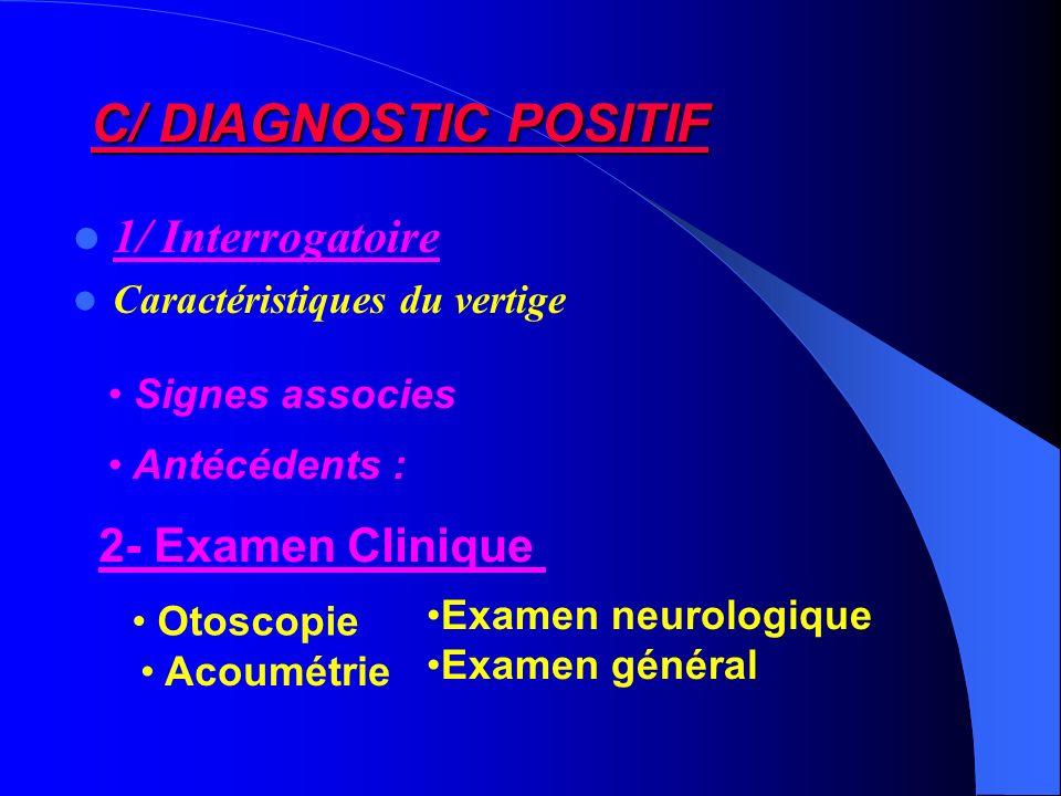 C/ DIAGNOSTIC POSITIF 1/ Interrogatoire Caractéristiques du vertige Antécédents : 2- Examen Clinique Otoscopie Acoumétrie Examen neurologique Examen g
