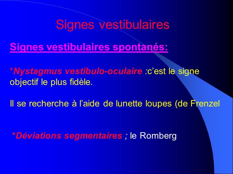 Signes vestibulaires spontanés: *Nystagmus vestibulo-oculaire :cest le signe objectif le plus fidèle. Il se recherche à laide de lunette loupes (de Fr