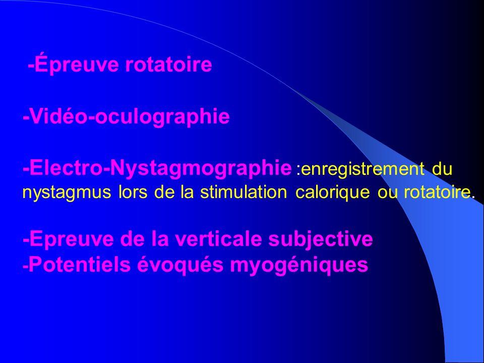 -Épreuve rotatoire -Vidéo-oculographie -Electro-Nystagmographie :enregistrement du nystagmus lors de la stimulation calorique ou rotatoire. -Epreuve d