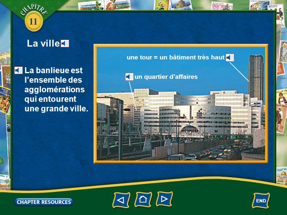 11 La ville une tour = un bâtiment très haut un quartier daffaires La banlieue est lensemble des agglomérations qui entourent une grande ville.