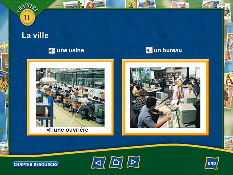 11 Describing a city une usinea factory un ouvrier, une ouvrière a factory worker traverser la rue to cross the road Vocabulaire (French–English)